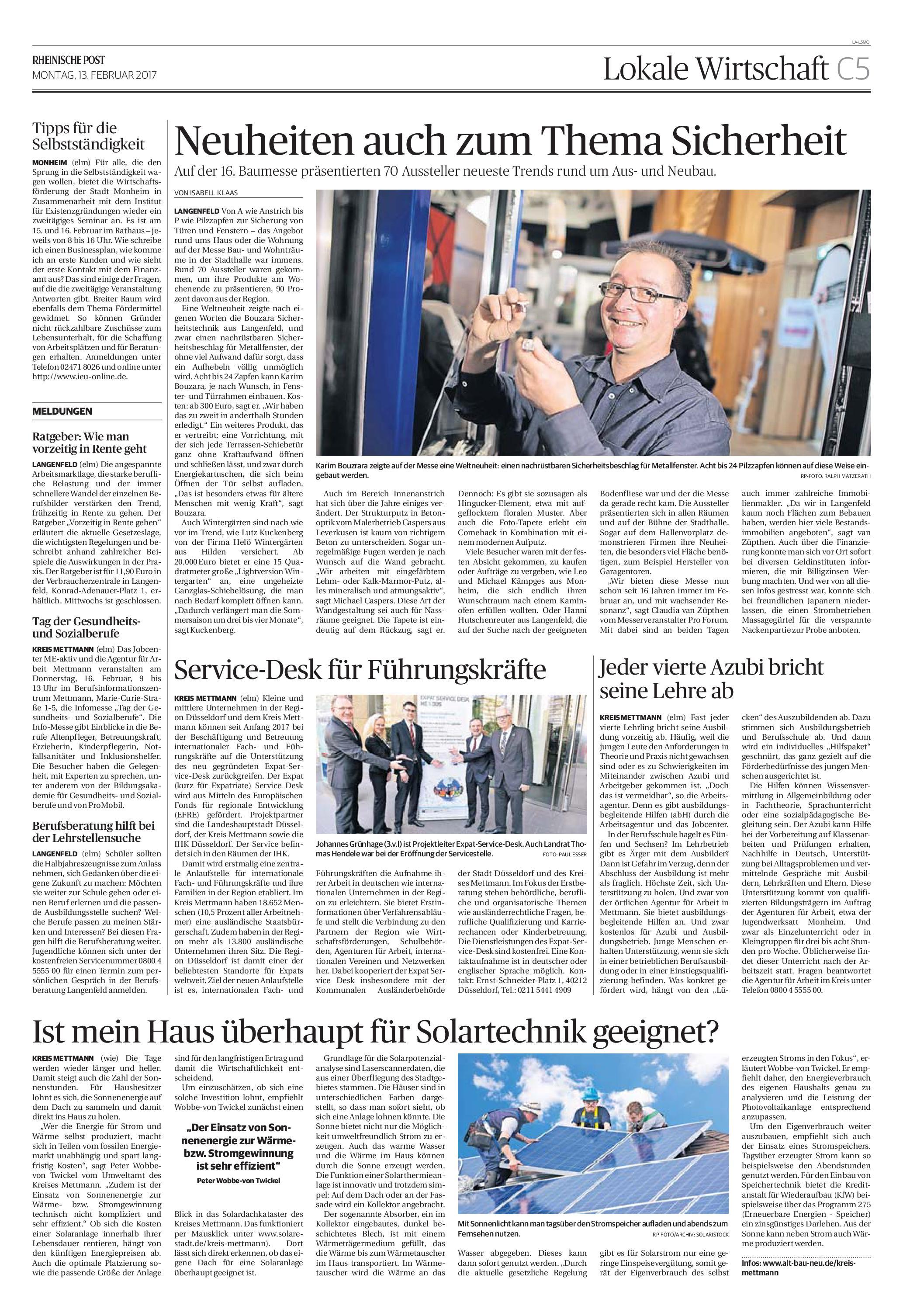 """Beitrag zur Messe """"Bau- & Wohnträume"""" vom 11. und 12. Februar 2017"""